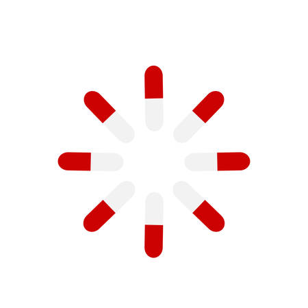 Red and white capsules on a blue and white background