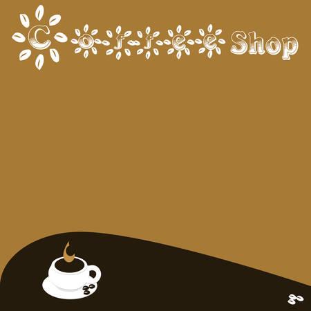 Een koffiekopje met koffiebonen en tekst koffie Stock Illustratie