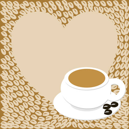 coffee beans: A heart with copy space and a cup with coffee beans