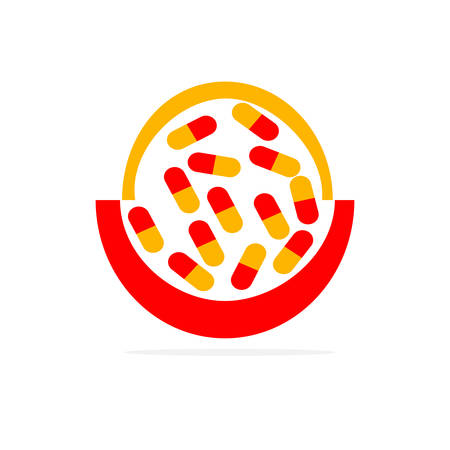 A red and yellow capsules in flat design style vector illustration