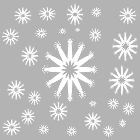 White snow flakes on grey background vector