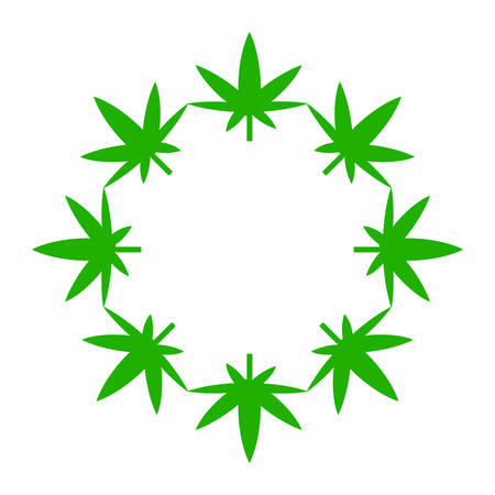 Marijuana leaves in a circle. Illustration