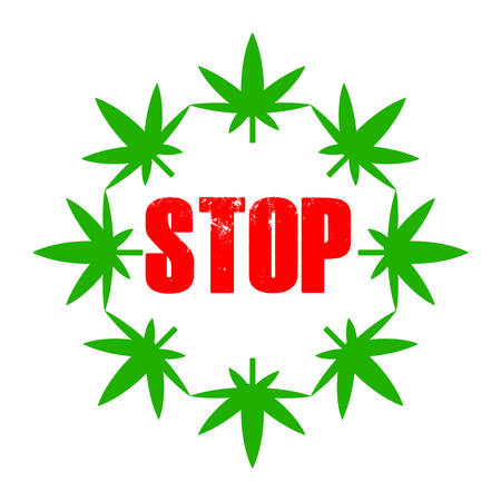 Marijuana leaves in a circle with a red stop text.