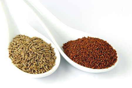 Cumin and mustard seeds isolated on a white background.