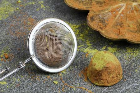 Chocolate truffles with green Matcha powder