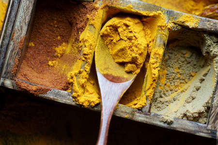 Close up of Indian spice Turmeric in a spoon.Turmeric powder