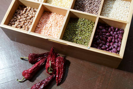A box of different kinds of lentils, a great source of protein