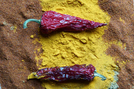 Close up of Indian spices of Turmeric powder, coriander powder and chili powder background. Stock Photo