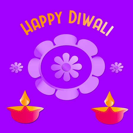Happy Diwali greeting with diya or lights in a circle.