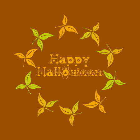 Happy Halloween text in a circle of seasonal leaves.