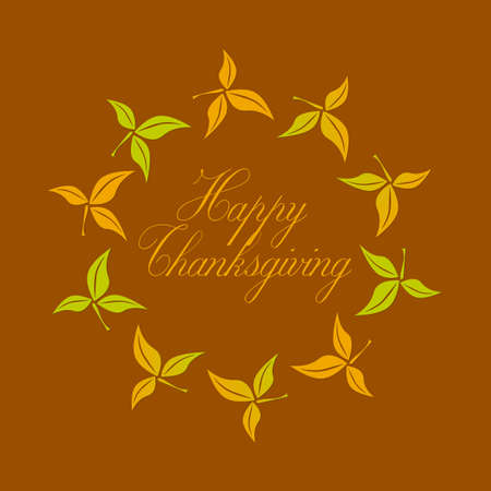 Happy Thanksgiving greetings text in a circle of leaves.