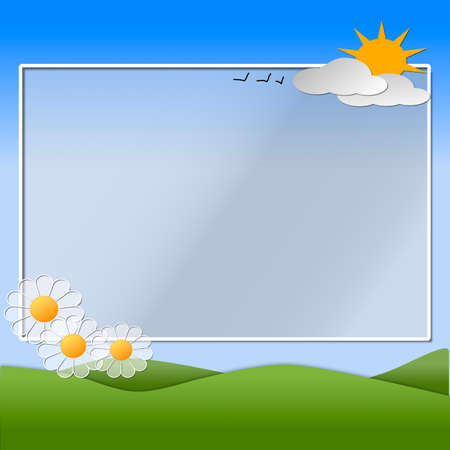 Hills, sky, sun, flowers and clouds depicting a scene of Spring with copy space for text.