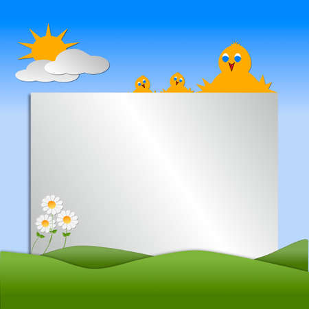 Birds with hills, sun, clouds depicting a scene of Spring season  with copy space for text.