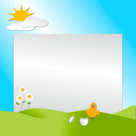 A bird hatching from an egg shell with hills, sun, clouds depicting a scene of Spring season  with copy space for text.