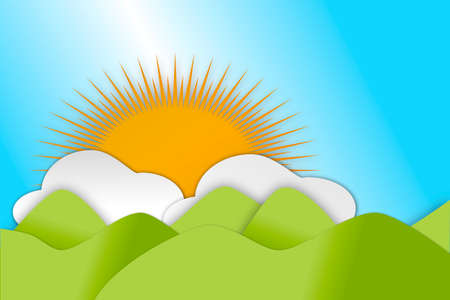 A background of Rolling green hills in Spring season with clouds and sun.