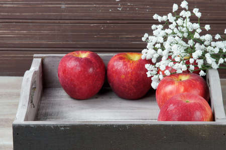 Red apples in a tray with fall decoration and white flowers Stock Photo