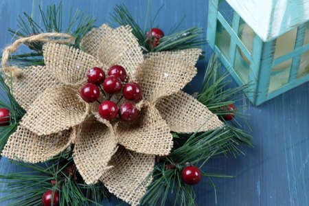 Christmas decorations on a wooden background
