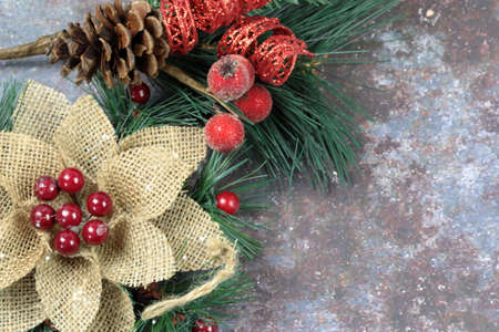 Christmas decorations on a grunge background with copy space.