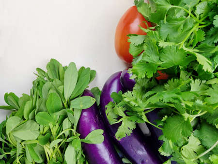 Indian vegetables of Tomatoes, Yams, Pointed gourd, Green chilies, Methi leaves, cilantro, and egg plants with copy space.