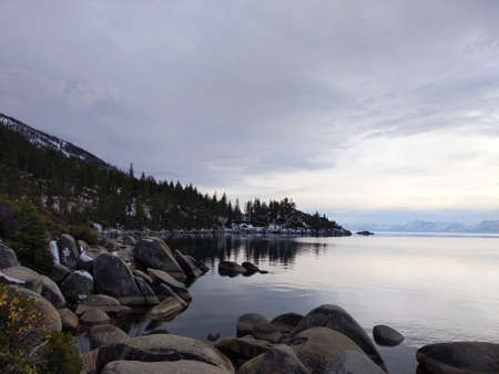 Scenic overlook of Memorial Point , Lake Tahoe Nevada with Trees and Rocks.