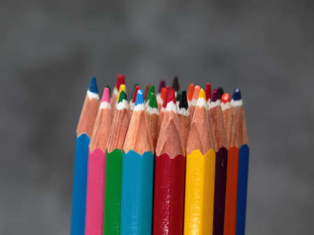 A bunch of Colourful pencils with defocused background