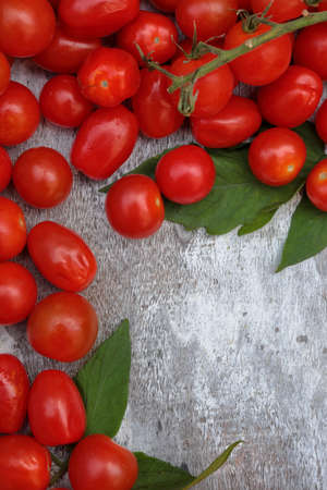 Cherry tomatoes with Roma Tomatoes on a wooden white background with copy space.