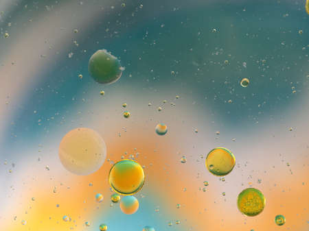 Abstract Oil globules in water background filling the frame