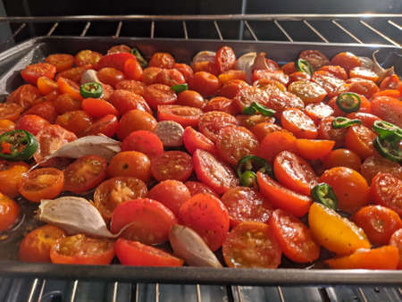Oven roated Cherry tomatoes for Crostini