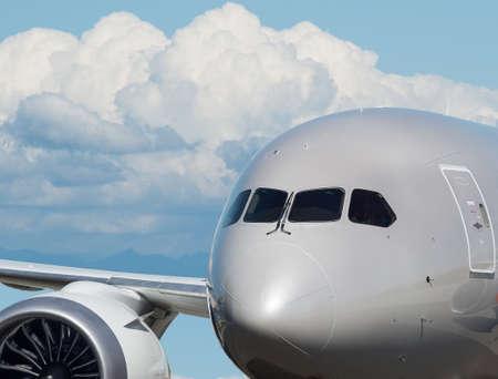 Airplane headshot closeup with blue sky background