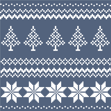 Winter Holiday greeting card with wool knitting design. Knitting Christmas Tree, Snowflake in Norwegian, Danish sweater style. Blue and white tracery. New Year vector illustration for invitation, print