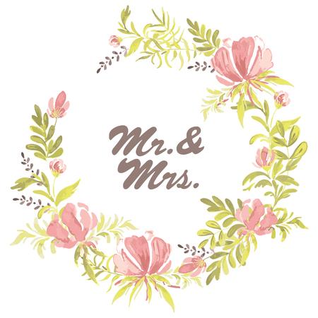 Abbozzato a mano Mr. e Mrs. testo come logotipo del giorno delle nozze, badge, icona. Bellissima ghirlanda floreale. Cartolina romantica di citazione, cartolina d'auguri, invito, illustrazione di vettore del modello dell'insegna. Archivio Fotografico - 94550316