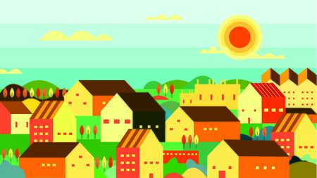 vector illustration of village at afternoon
