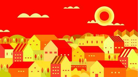 village vector illustration, flat background at afternoon Çizim