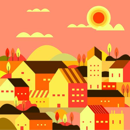 illustration of a city at afternoon