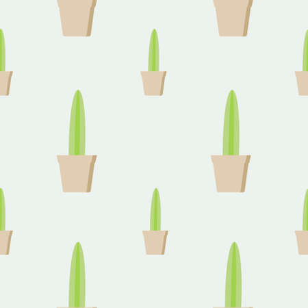 Seamless cactus pattern, succulent potted on soft color background. For fabric, packaging, box, cardboard, packaging paper. Cartoon style vector. Cacti flat design on pastel colors Ilustrace