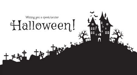 Vector illustration, Flat Style, Halloween background, the vampire castle silhouette located on a hill between the cemeteries at full moon, tombstone, dracula, graveyard, cross, jack o lantern, scary Иллюстрация