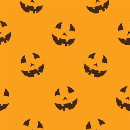 Halloween seamless pattern. Vector seamless pattern with lit Jack-O-Lantern faces on a orange background. Ilustração