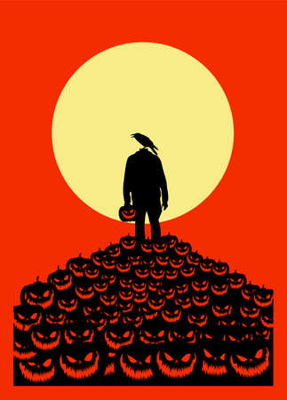 Vector illustration, Flat Style, Vintage horror or halloween background, the figure of a headless monster silhouette standing standing on a pile of scary-faced pumpkins jack o lantern at full moon