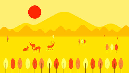 mountain and savannah flat landscape 矢量图像