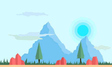 mountain and forest flat landscape