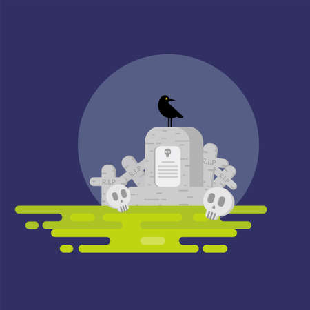 Halloween. Flat. Halloween. Vector illustration on a white background. Flat design style. Icon of a tombstone with a skull. On the gravestone sits a black crow. Detail cemetery.