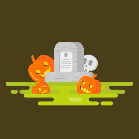 Halloween. Flat. Halloween. Vector illustration on a color background. Flat design style. Stone tombstone stands on ground with grave. Skull on stone. Detail cemetery. Иллюстрация