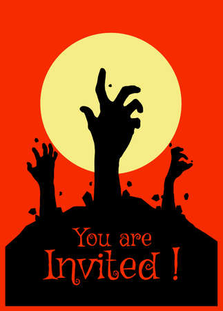 Vector illustration, Flat Style, Horror halloween background, silhouette of zombie hands come out of the ground or the cemetery on top there is a full moon, can use for card, poster, banner, invitation 向量圖像