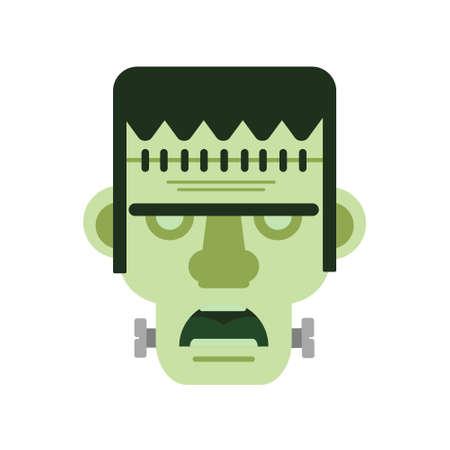 Zombie head icon, Zombie symbol Halloween icon. Colorful flat corpse icon. Thin line art design, Vector outline illustration Illustration