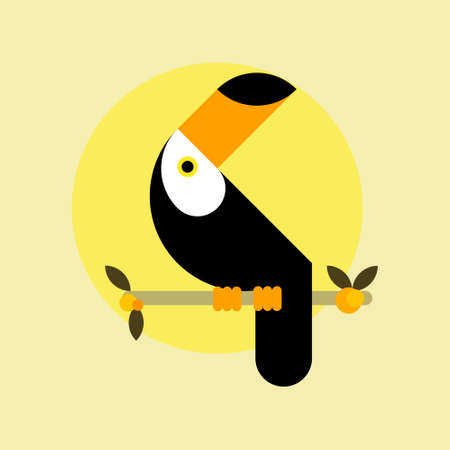Toucan bird. Flat design style illustrations. Template of icons and logos. Simple mascot