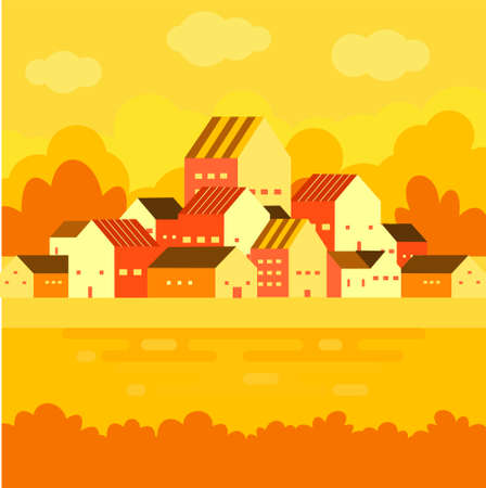 village and hills flat landscape.Flat design rural landscape illustration with a country house, arable land, hills and mountains.  village scene country side view
