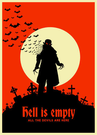 Dracula vintage poster on a cream with full moon. Vampire retro poster and background. Creepy silhouette of a vampire. Stock for the printed flyer, poster, halloween party, greeting card, background