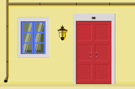 The facade of the house with a door and a window. Flat design, illustration 向量圖像
