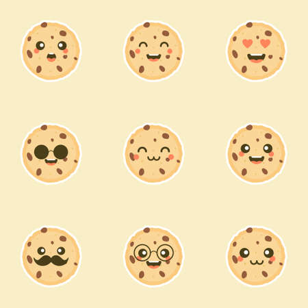 Cute cartoon chocolate chip cookie character with funny face. Cute happy cookie mascot vector illustration isolated on white. Kids menu design concept. Smiling and surprised face food emoticon 일러스트