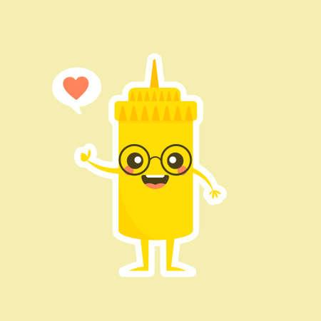 Cute Mustard Yellow Sauce Bottle Vector Illustration Cartoon Smile
